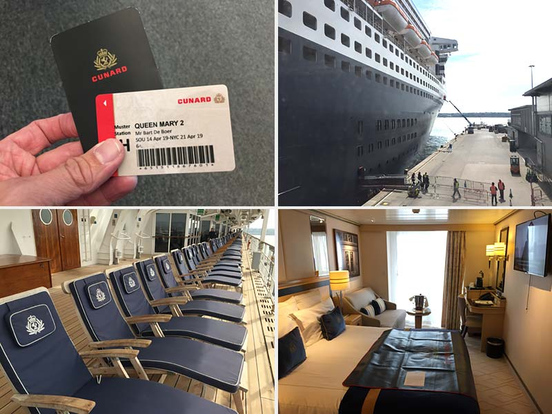 Inscheping op de Queen Mary 2 van Cunard in Southampton