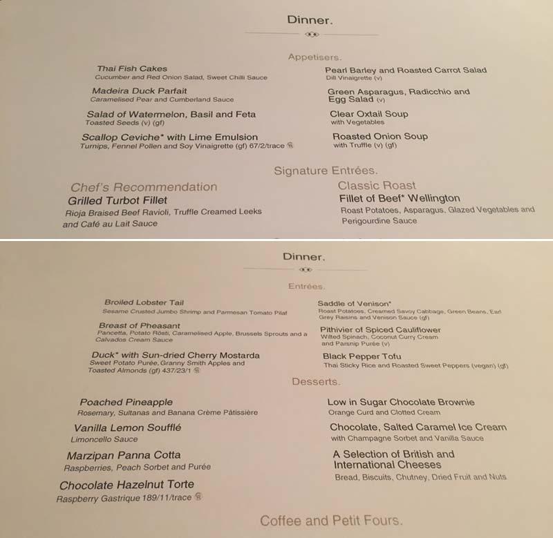 Diner menu van het Britannia Restaurant op de Queen Mary 2 van Cunard