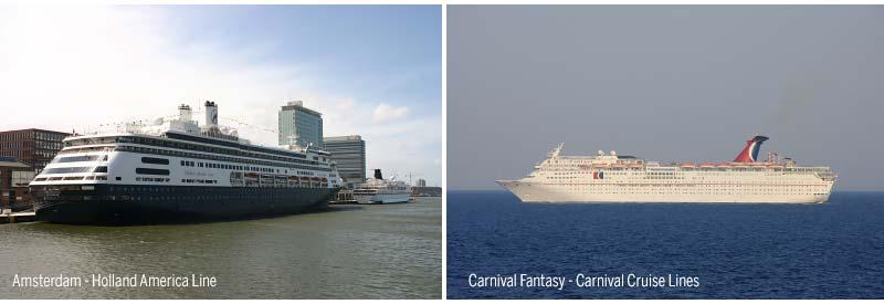 Amsterdam van Holland America Line en Carnival Fantasy van   Carnival Cruise Lines