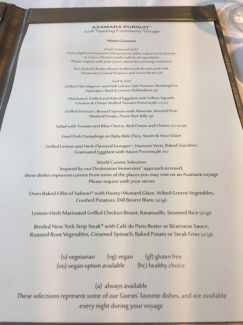 Azamara Club Cruises - Diner menu