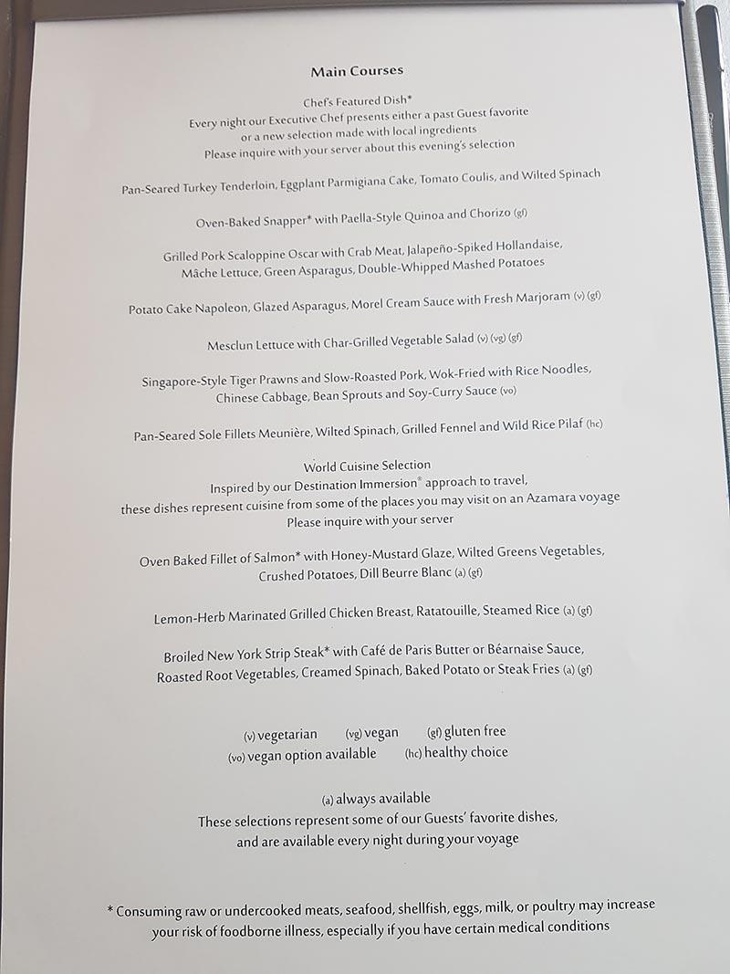 Dinermenu Discoveries restaurant op de Azamara Pursuit
