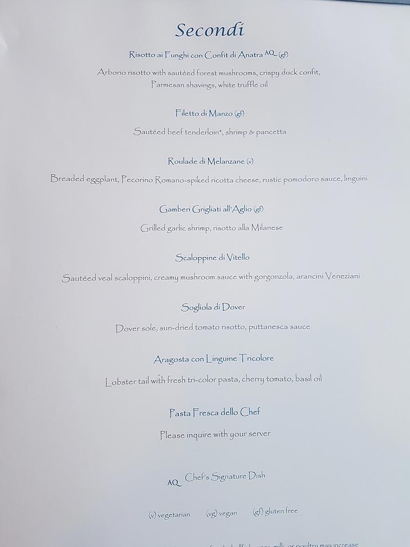 Dinermenu Aqualina Restaurant op de Azamara Pursuit