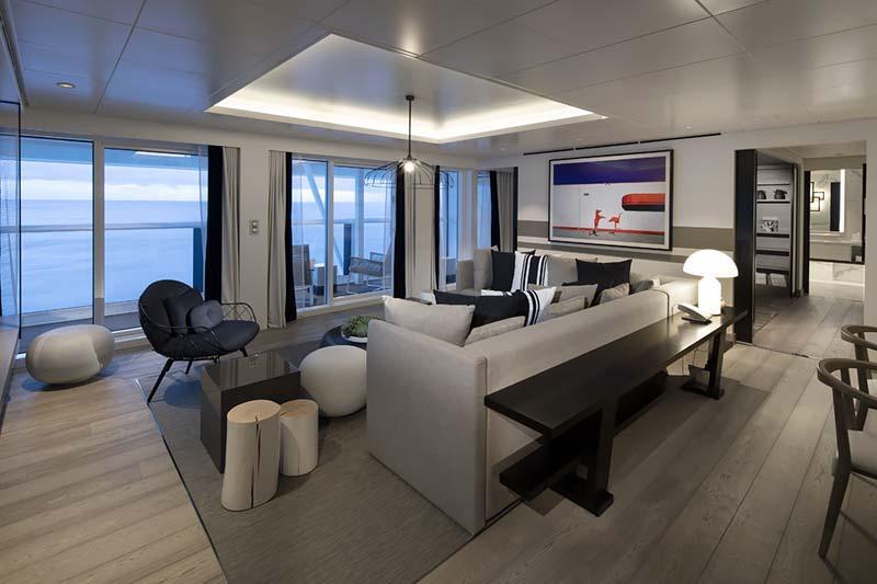 Interieurfotos van hutten en suites op cruiseschip Celebrity Edge van Celebrity Cruises