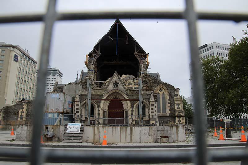 Verwoeste kathedraal in Christchurch, Nieuw-Zeeland