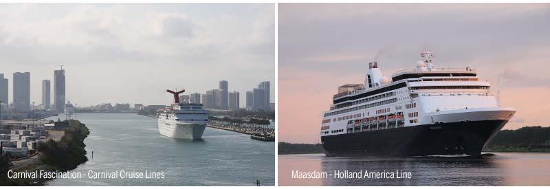 Carnival Fascination van Carnival Cruise Lines en Maasdam van   Holland America Line