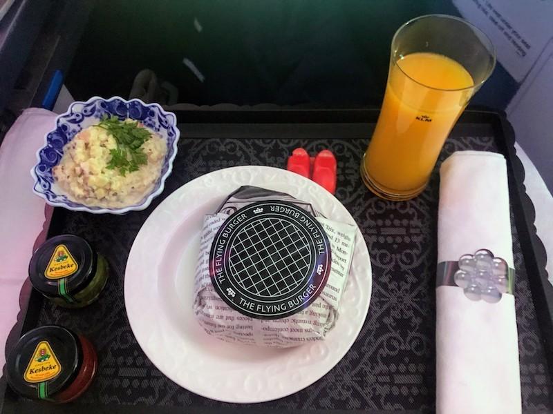 KLM Boeing 787 Dreamliner Business Class lunch menu