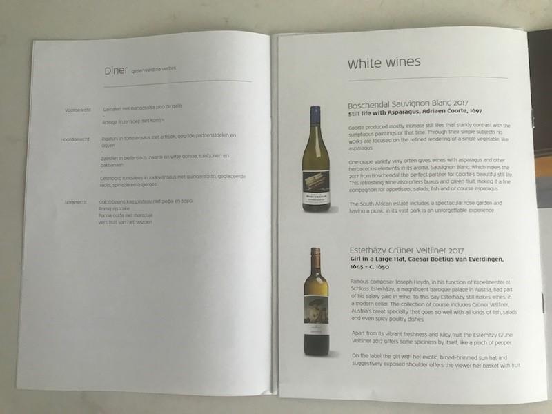 KLM Boeing 787 Dreamliner Business Class wijnkaart