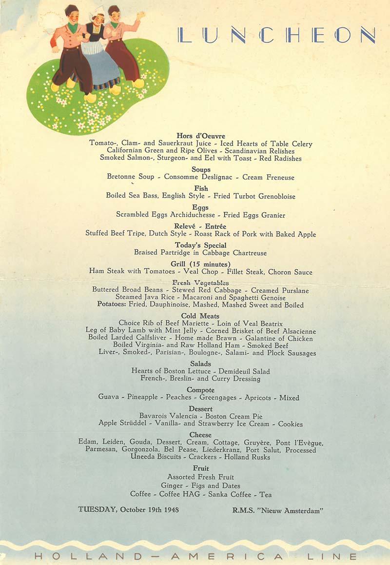 menukaart nieuw amsterdam holland america line uit 1948