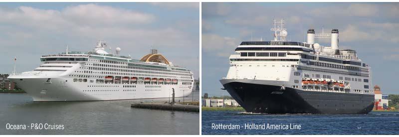 Oceana van P&O Cruises en Rotterdam van Holland America Line