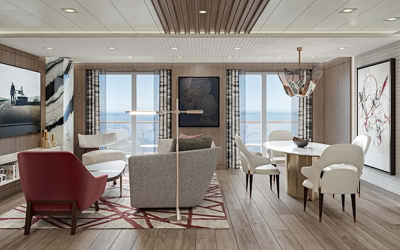 oceania suite woonkamer op cruiseschip vista van oceania cruises