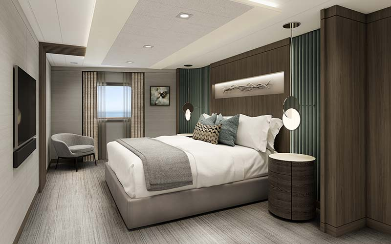 vista suite slaapkamer op cruiseschip vista van oceania cruises