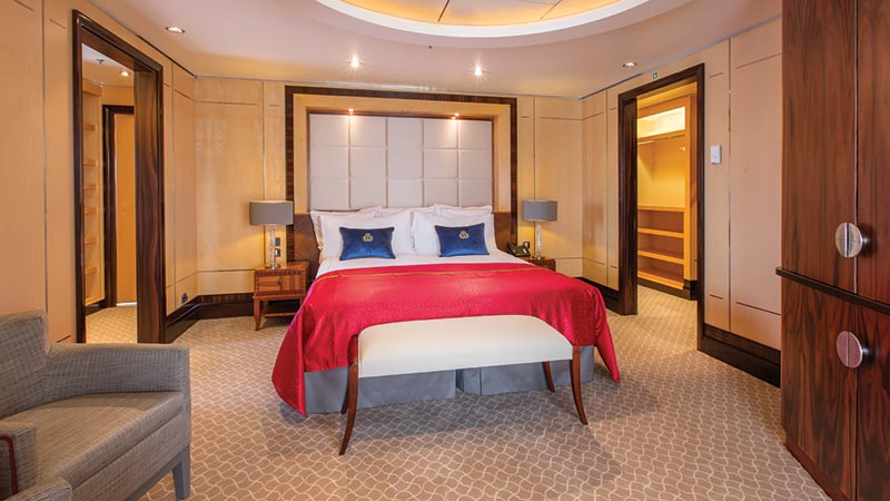 Queen Mary 2 Grand Duplex Suite slaapkamer - Cunard Line