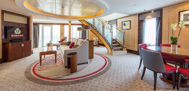 Queen Mary 2 Grand Duplex Suite woonkamer - Cunard Line