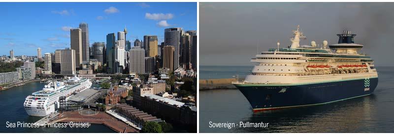 Sea Princess van Princess Cruises en Sovereign van Pullmantur