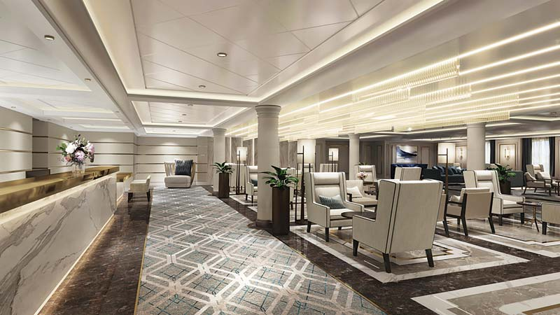 bezoek aan cruiseschip seven seas splendor van regent seven seas cruises op de bouwwerf in italië