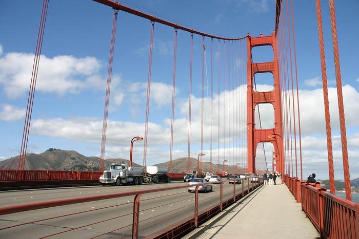foto's van fietstocht over de golden gate bridge in san francisco