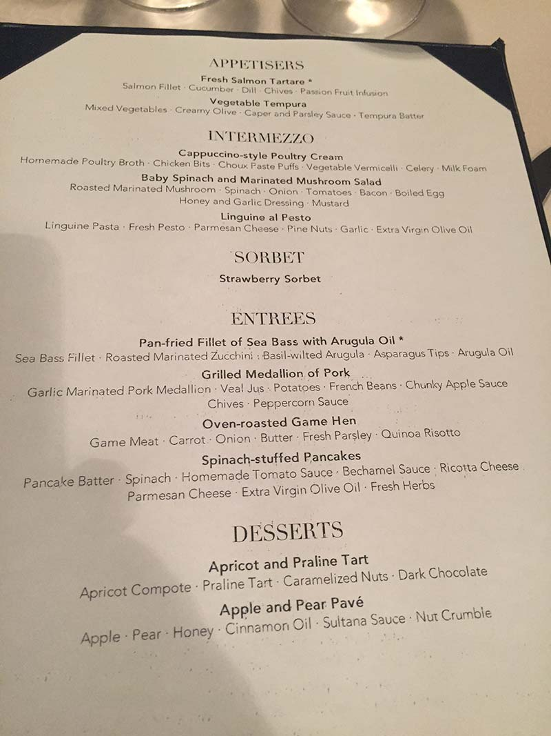 Silver Discoverer cruise schip - Diner menu
